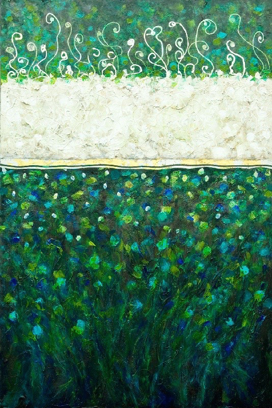"""Cypress Mountain on Ice"" ~ Mixed Media & Gold Leaf, 60""H x 40""W"