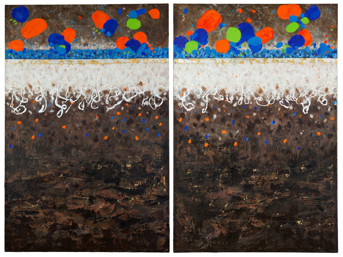 """Grouse Mountain on Ice"" ~ Mixed Media & Gold Leaf, 54""H x 72""W"