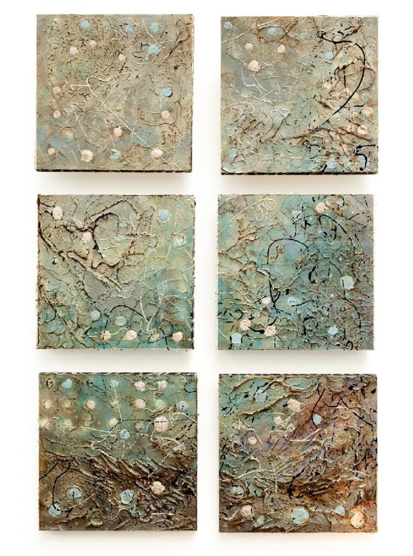 "Bottom of Sunset Beach ~ Sixtych ~ Acrylic & Oil Encaustic, 36""H x 24W"""